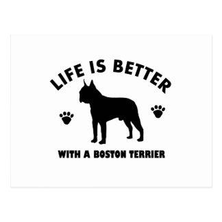 Boston terrier dog design postcard