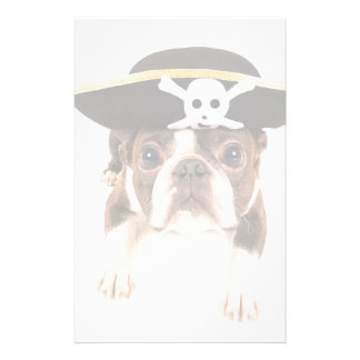 Boston Terrier Dog Dressed As A Pirate Stationery