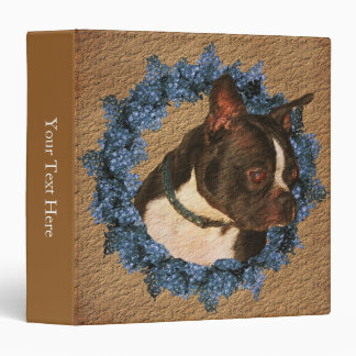 Boston Terrier Dog Flower Wreath 3 Ring Binder