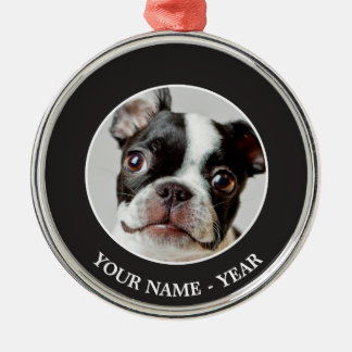 Boston Terrier dog puppy. Metal Ornament