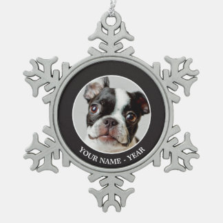 Boston Terrier dog puppy. Snowflake Pewter Christmas Ornament