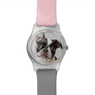 Boston Terrier dog puppy. Wrist Watch