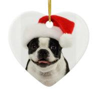 Boston Terrier Dog Santa Ornament