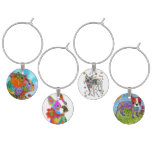 Boston Terrier Dog Set of Four Wine Charms