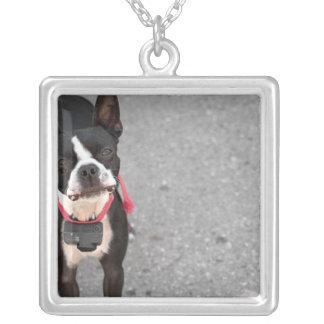 Boston Terrier Dog Square Pendant Necklace