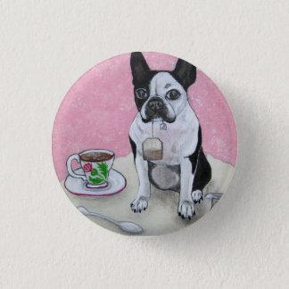 Boston Terrier Dog Tea Time Party Button