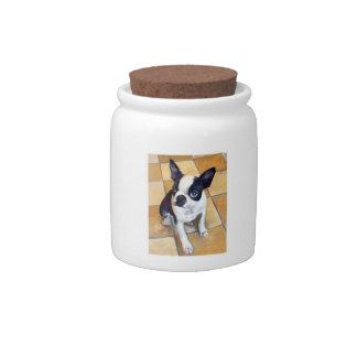 Boston Terrier Dog Treat Candy Jar