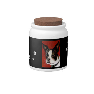 Boston Terrier Dog Treat Jar Candy Dishes