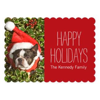 Boston Terrier dog wearing a Christmas wreath Card