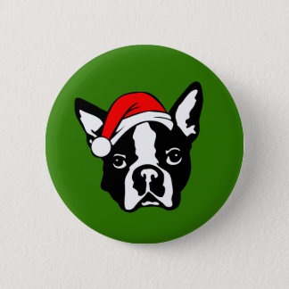 Boston Terrier Dog with Christmas Santa Hat Button