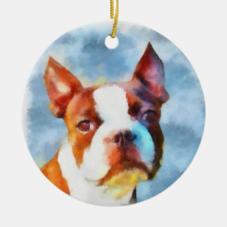 Boston Terrier Double-Sided Ceramic Round Christmas Ornament