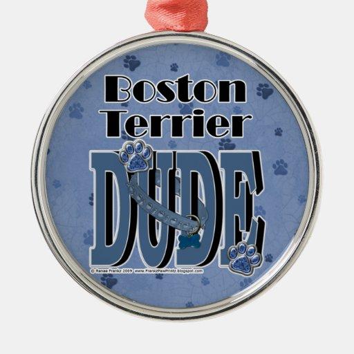 Boston Terrier DUDE Christmas Tree Ornament