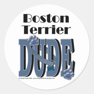 Boston Terrier DUDE Classic Round Sticker