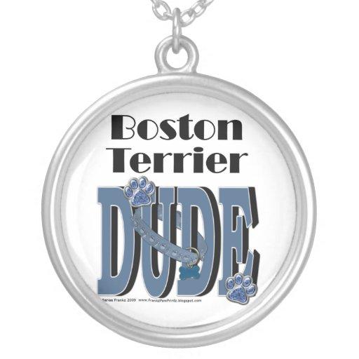 Boston Terrier DUDE Round Pendant Necklace