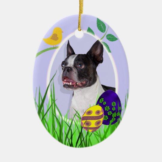 Boston Terrier Easter Ornament
