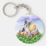 Boston Terrier Easter Surprise Keychain