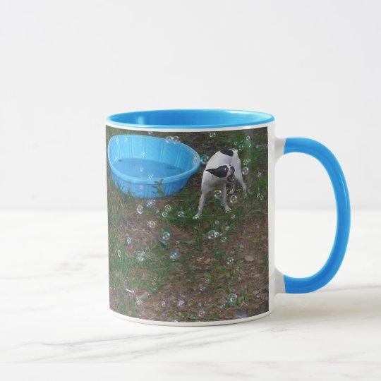 Boston Terrier eating bubbles Mug