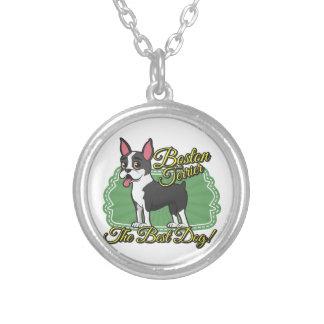 ¡Boston Terrier - el mejor perro! Colgante Redondo