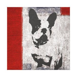 Boston Terrier en blanco y negro con la frontera Lienzo Envuelto Para Galerías
