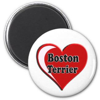 Boston Terrier en el corazón para los amantes del  Imanes De Nevera