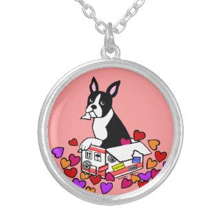 Boston Terrier en el dibujo animado de la caja Colgante Redondo
