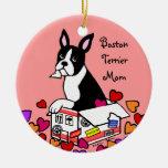 Boston Terrier en el dibujo animado de la caja Adorno Redondo De Cerámica