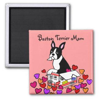 Boston Terrier en el dibujo animado de la caja Imán Para Frigorifico