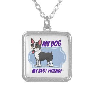 Boston Terrier es mi mejor amigo Colgante Cuadrado