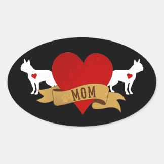 Boston Terrier [estilo del tatuaje] Calcomania De Óval Personalizadas