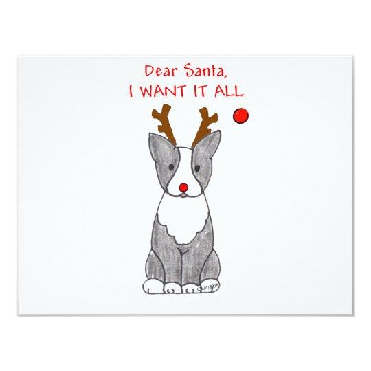 """Boston Terrier estimado Santa Invitación 4.25"""" X 5.5"""""""