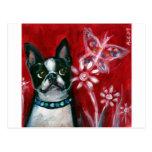 Boston Terrier eyes butterfly Postcard
