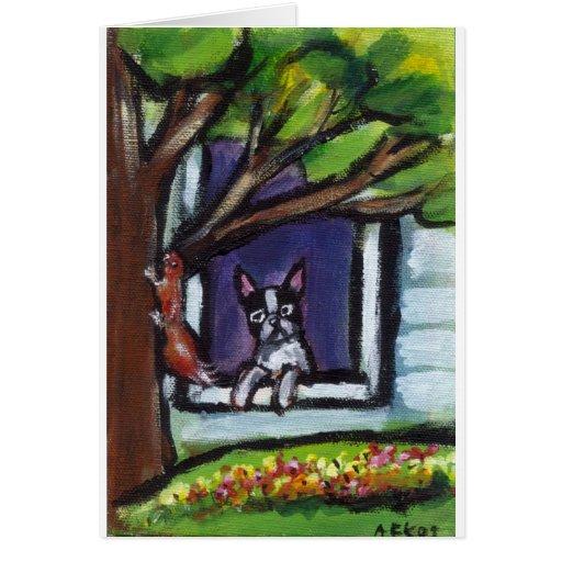 Boston Terrier eyes squirrel in tree dog painting Greeting Card