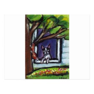 Boston Terrier eyes squirrel in tree dog painting Postcard