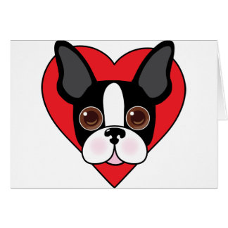 Boston Terrier Face Card