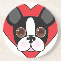 Boston Terrier Face Drink Coaster