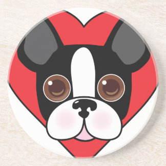 Boston Terrier Face Drink Coaster