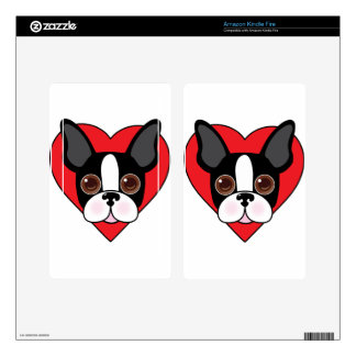 Boston Terrier Face Kindle Fire Decal