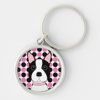 Boston Terrier Face Silver-Colored Round Keychain