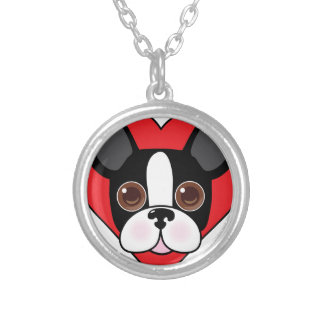 Boston Terrier Face Silver Plated Necklace