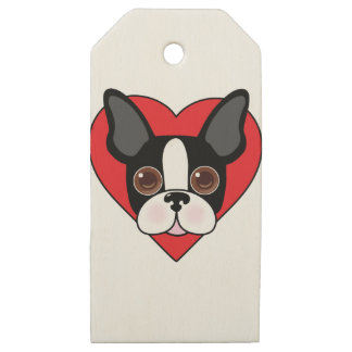 Boston Terrier Face Wooden Gift Tags