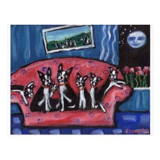Boston Terrier family sofa Postcard