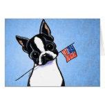Boston Terrier Flag 4th of July Custom Greeting Cards