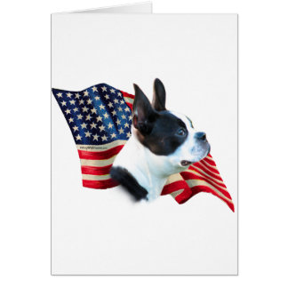 Boston Terrier Flag Card