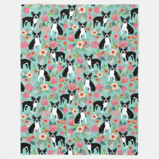 Boston Terrier Floral Blanket - cute vintage flora