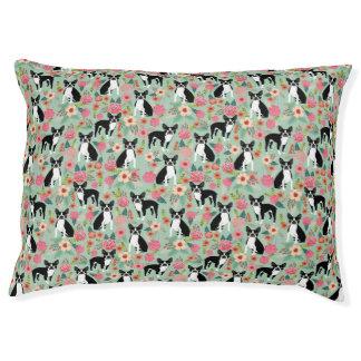 Boston Terrier Florals Dog Bed