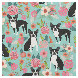 Boston Terrier florals fabric - cute fabric design