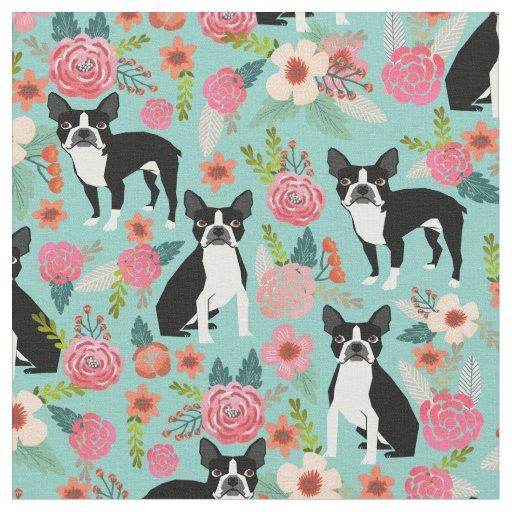 Boston Terrier Florals Fabric Cute Fabric Design