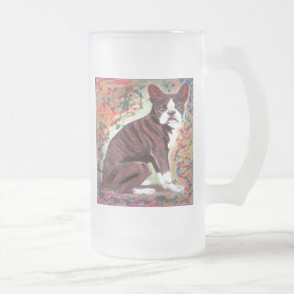 Boston Terrier Frosted Glass Beer Mug