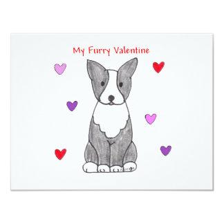 Boston Terrier Furry Valentine Card