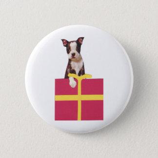Boston Terrier Gift Box Pinback Button